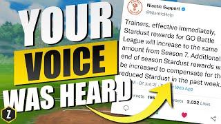 Your Voice was Heard! Niantic Increases Stardust for Pokémon GO Battle League!