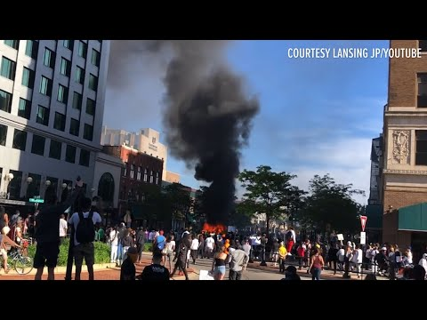 Cars Overturned, Fires Set After Day Of Protests In Lansing
