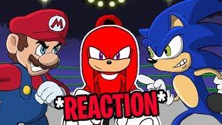 "Knuckles Reacts To: ""Mario Vs Sonic - Cartoon Beatbox Battles"""