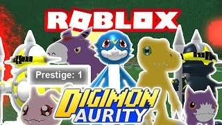 Digimon Aurity - PRESTIGE 1!!! BACK TO BABY DIGIMON!! (Roblox Gameplay)