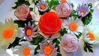 Цветы из редиса. Украшения из овощей. Decoration Of Vegetables. Flowers of Radish