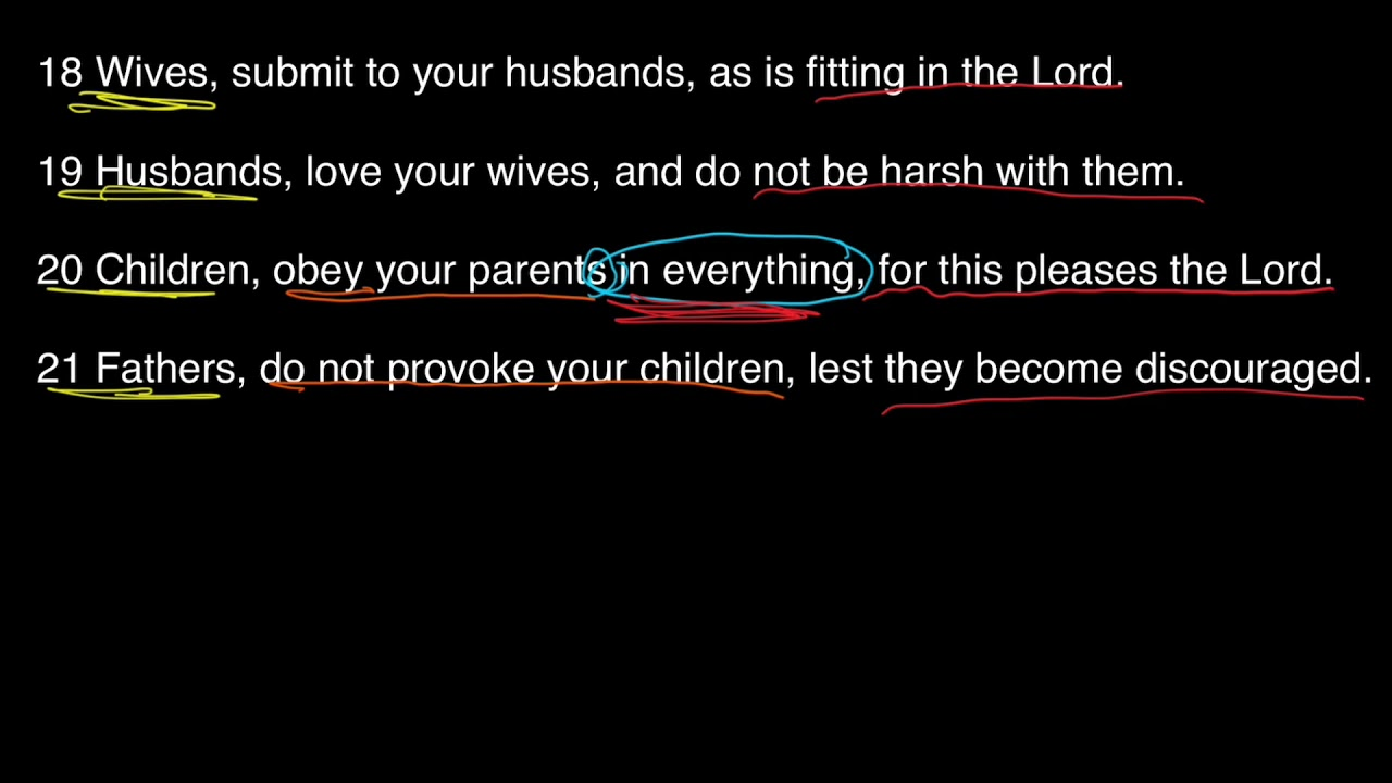 For The Family pt. 3: Children and Parents, Col 3:18-21 Bible Study