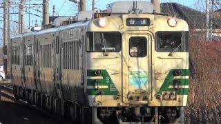 【さよならキハ40】男鹿線 キハ40系 4両編成 男鹿ー秋田 1124D 上飯島駅 到着から出発