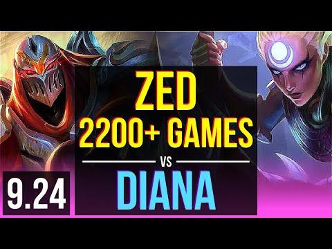 ZED Vs DIANA (MID) | 1.7M Mastery Points, 2200+ Games, 10 Solo Kills | NA Challenger | V9.24