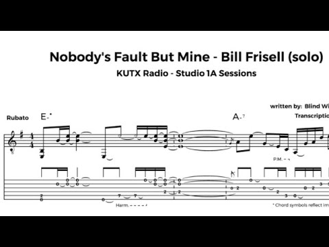 One minute guitar lesson: Nobody's Fault But Mine - Bill Frisell (solo) transcription