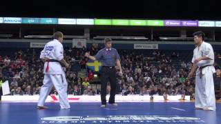 第5回カラテワールドカップ 男子重量級 1回戦 7 アルバロ・ガライ vs ...