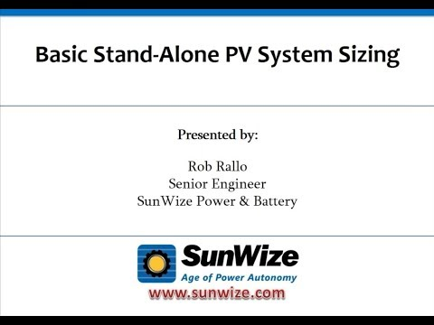 Basic Stand Alone PV System Sizing