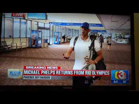 Michael Phelps arrives back on US soil. Rio 2016