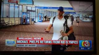 Repeat youtube video Michael Phelps arrives back on US soil. Rio 2016