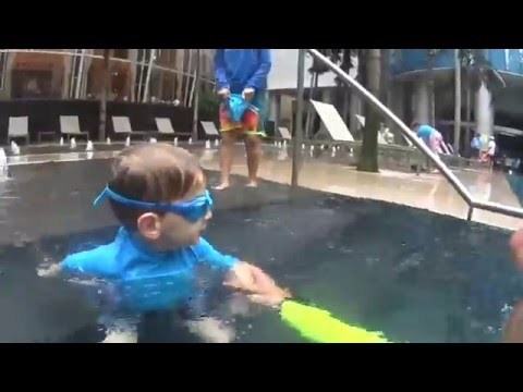 Teach how to swim Relax, blow bubbles, Float and look under water to your child