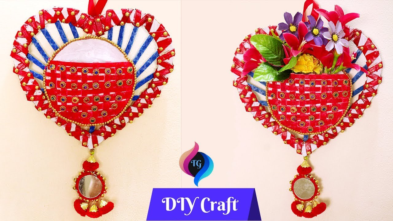 Best Out Of Waste Wall Hanging Flower Vase Waste Material Craft Wall Decorations Idea