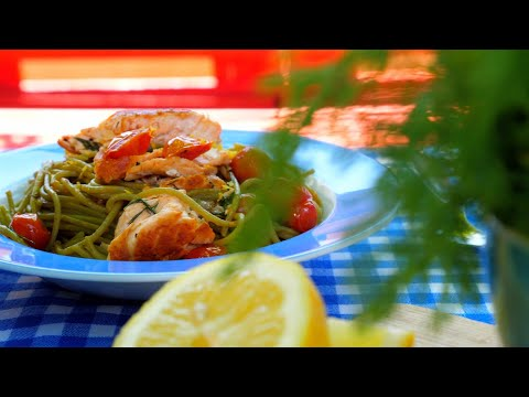 Σπαγγέτι με σπανάκι, σολομό και ντοματίνια | Mamatsita