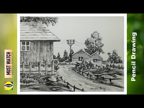 pencil sketching tutorial for beginners / wooden house drawing easy / house scenery painting