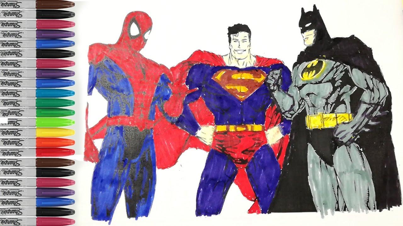 batman spiderman superman coloring pages - photo#42