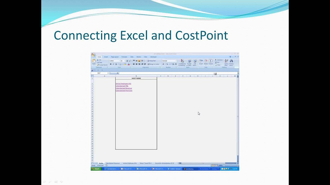Connecting Excel and Deltek Costpoint