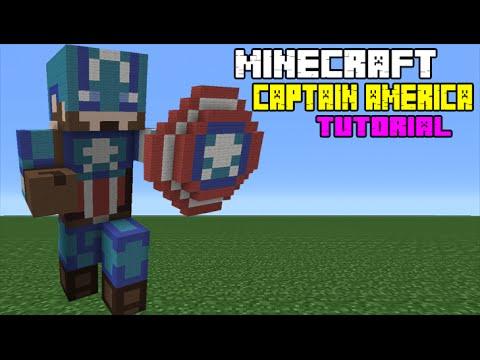 Minecraft Tutorial: How To Make A Captain America Statue (Captain America: Civil War)