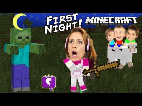 HobbyMom's First Night+Worm Attack! Minecraft Family Fun with Sheep HobbyKidsTV