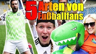 5 Arten von Fussballfans - Fangirl, Profi, Trottel im Stadion beim Spiel! Spiel mit mir