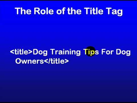 SEO Education 101 - Role of the title tag
