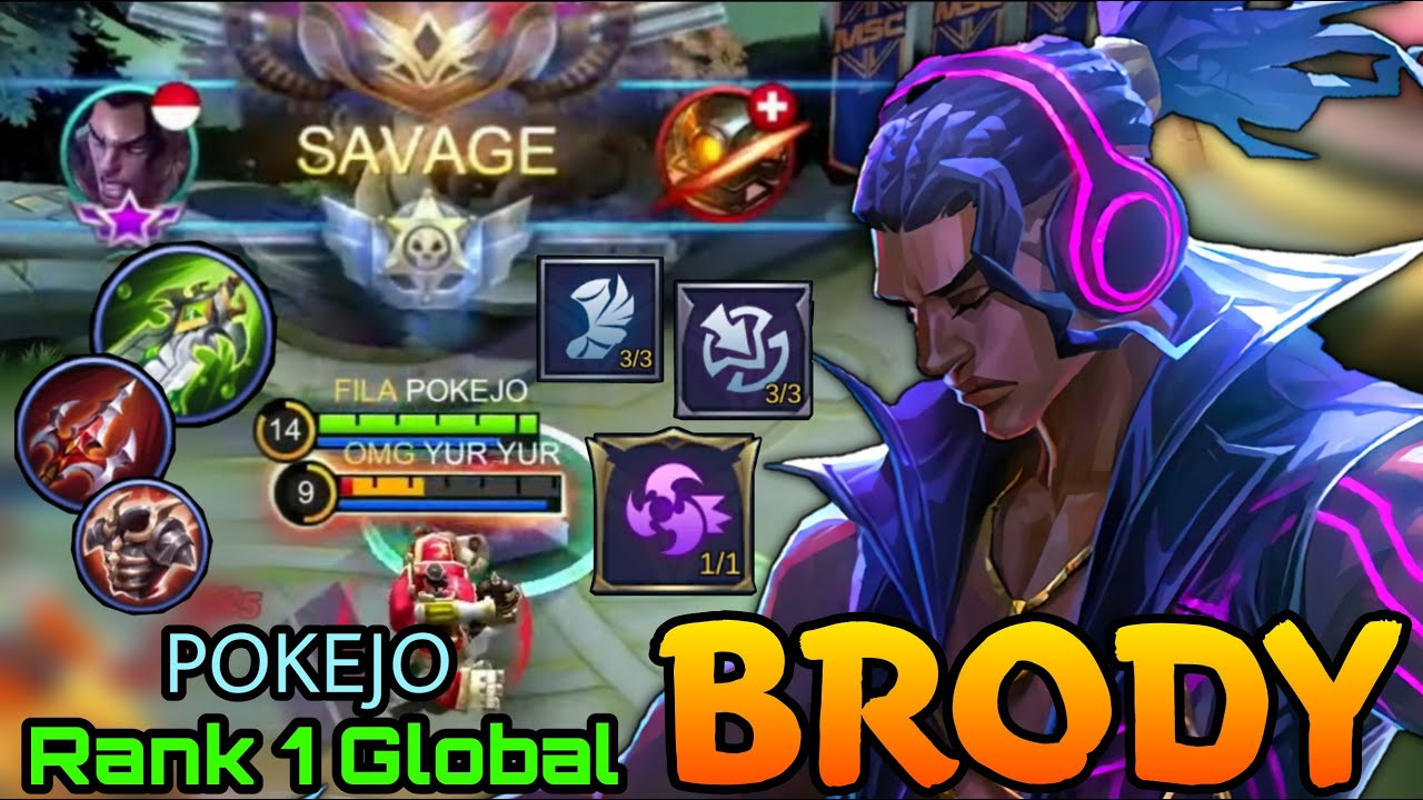 Brody Perfect SAVAGE!! - Top 1 Global Brody by POKEJO - Mobile Legends: Bang Bang