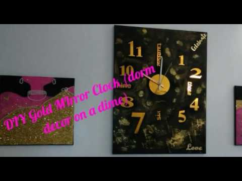 DIY Gold Mirror Clock (dorm decor on a Dime)