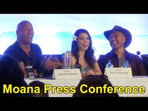 "Disney ""Moana"" Press Conference with Dwayne Johnson, Lin-Manuel Miranda, Auli'i Cravalho, Etc."
