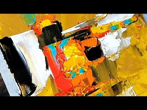 Easy Abstract Painting on Canvas / Simple form using Palette knife and Acrylics / Demonstration