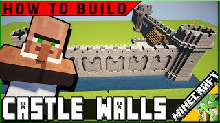 Minecraft Easy Castle Walls, HOW TO BUILD! (plus rude villager)