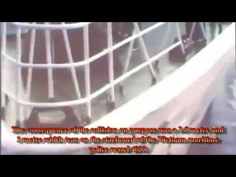 Chinese vessels attack Vietnamese maritime police vessels around Paracel of Vietnam at 5-5-2014