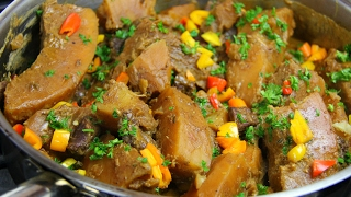 Breadfruit In Stewed Pork, Simmered With Coconut Milk #TastyTuesday's | CaribbeanPot.com