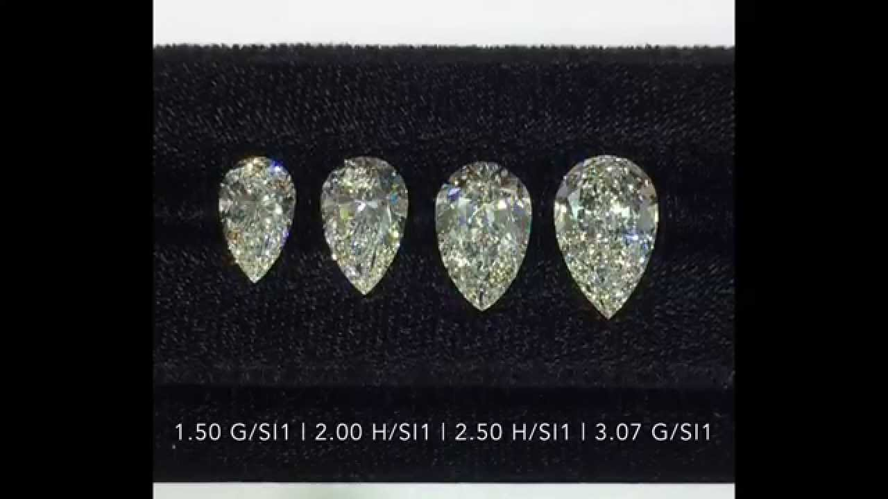 Pear Cut Diamonds Size Comparison 1 50 2 00 2 50 3 00
