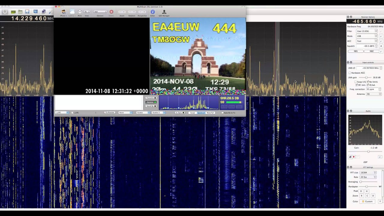 Strange Shortwave: SSTV QSO between TM80GW and EA4EUW, GQRX / RTL_SDR