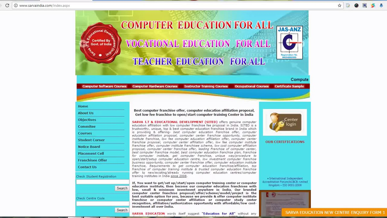 Procedure for computer Institute/center  Registration-Franchise-Affiliation-Recognition in India