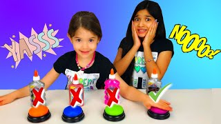 Zapętlaj DON'T PUSH THE WRONG BUTTON SLIME CHALLENGE!! | Fun-Time with Jasmine and Bella
