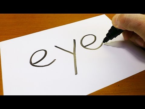 Very Easy ! How to turn words EYE into a Cartoon - art on paper for kids