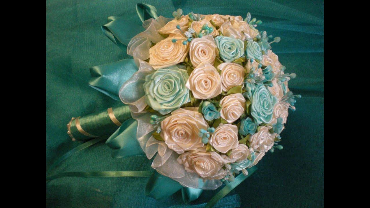 Свадебный букет из лент своими руками фото