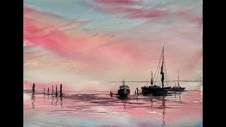 Paint a loose Watercolour Sunset Seascape, Simple Watercolor Tutorial 3 Primaries and grey, Boats