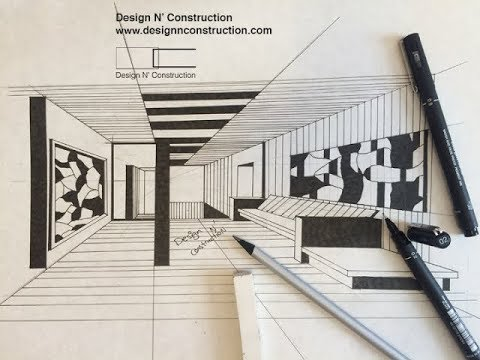 Draw Interior Of Gallery With Pen Rendering Youtube