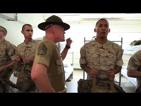 United States Army Marine Corps Boot Camp – Recruits Meet Drill Instructors.