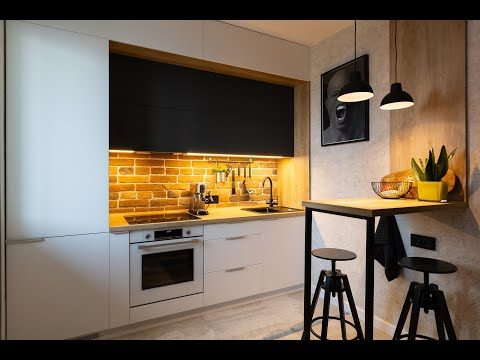 Кухня под потолок из акрила в стиле лофт | Everest.by
