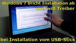 Windows 7 Installation Fehler Error Abbruch - fehlende CD DVD Treiber