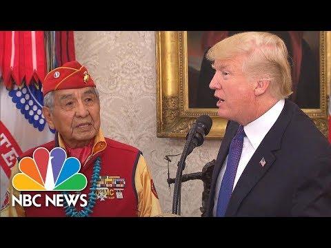 President Donald Trump Calls Sen. Warren 'Pocahontas' At Native American Veterans Event   NBC News