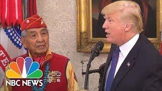 President Donald Trump Calls Sen. Warren 'Pocahontas' At Native American Veterans Event | NBC News