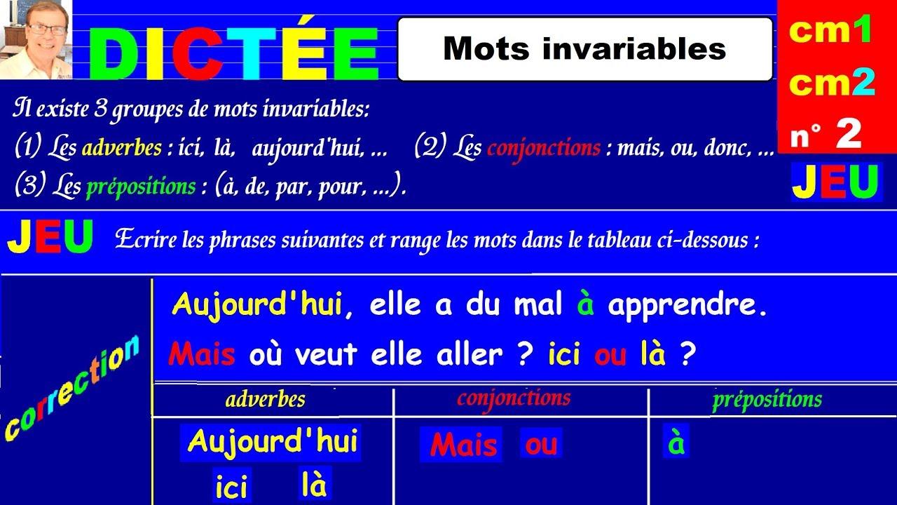 Dictee Autonome Cm2 Et Fiche Grammaire Des Mots Invariables 2 Youtube