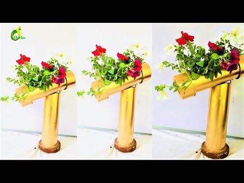 pvc planter/plastic pipe projects in garden/creative planter/organic garden