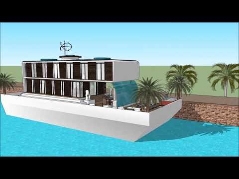 Houseboat design architect Mumbai in INDIA luxury floating barge project construction at sea unique