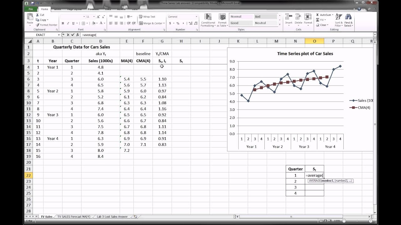 Excel - Time Series Forecasting - Part 2 of 3 - YouTube