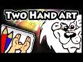 Lion Cartoon Drawing with Two Hands - Ambidexterity