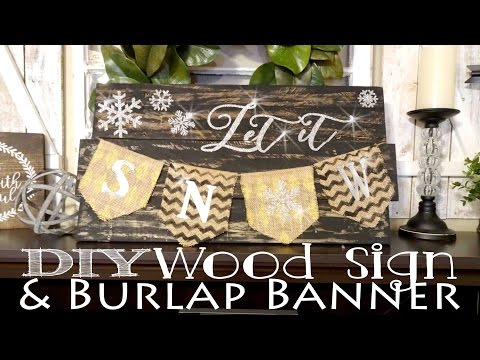 Let it Snow Pallet Wood Sign with Banner