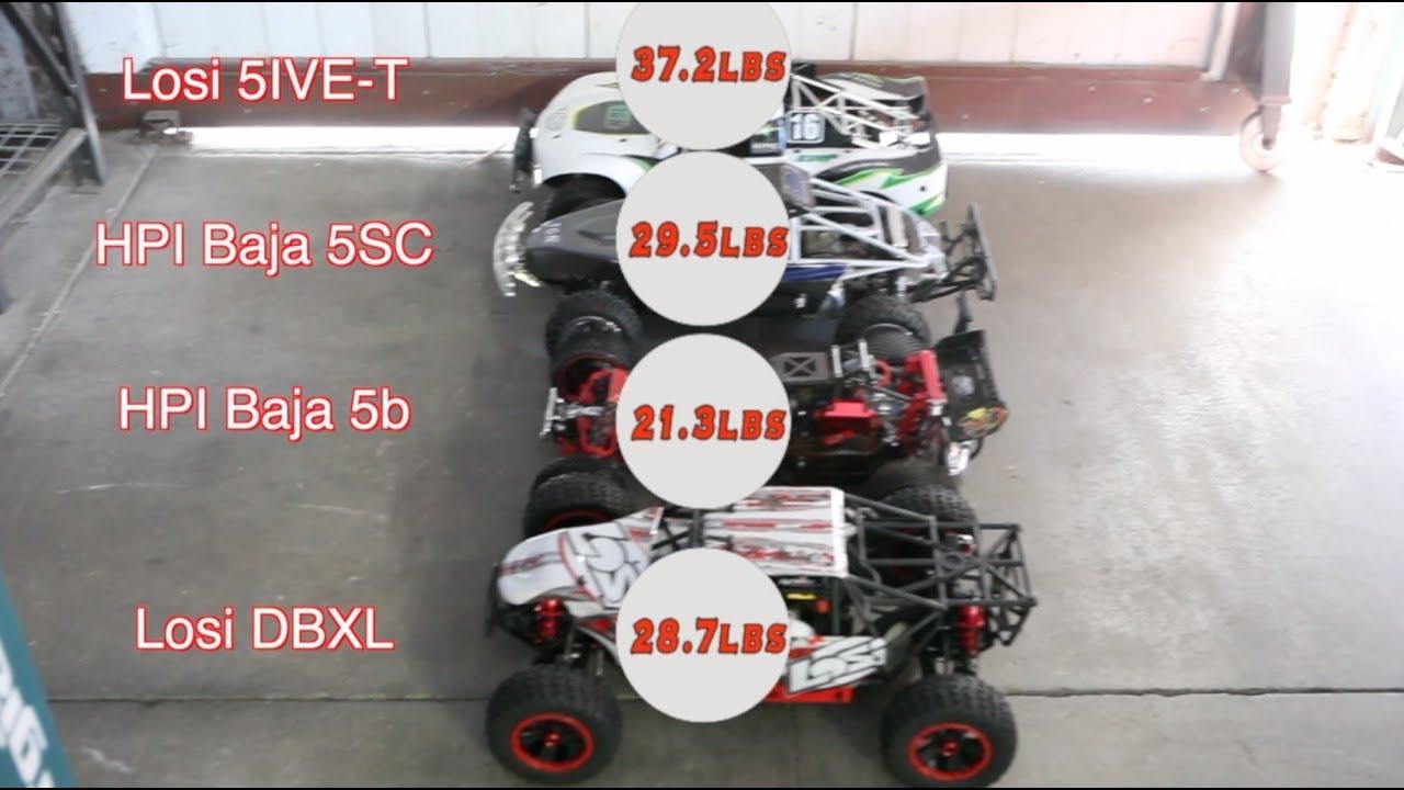 Losi DBXL vs  Losi 5IVE-T vs  HPI Baja 5b vs  HPI Baja 5SC